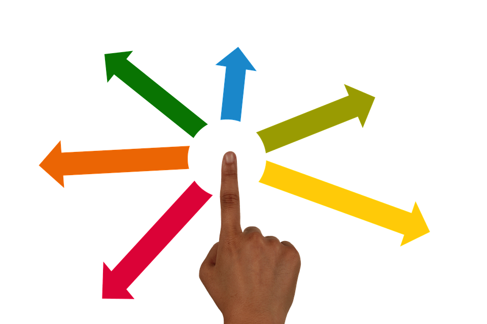 finger pointing to center of several colored arrows pointing in different directions